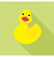 Digital duck toy over green background vector image