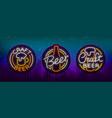 set of beer logo neon signs logos of emblem in vector image