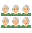 set of different expressions of senior woman vector image