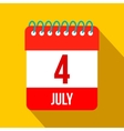 4 July Calendar Independence Day USA flat icon vector image