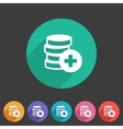 Add money coins wallet icon flat web sign symbol vector image vector image