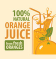 banner or label for natural orange juice vector image vector image
