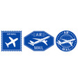 blue postal stamps air mail sign with plane vector image