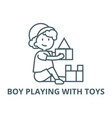 boy playing with toysbox bricks line icon vector image