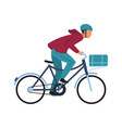 cartoon man on bicycle simple character in casual vector image