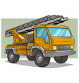 cartoon yellow cargo truck with metal ladder vector image vector image