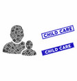 child parent mosaic and grunge rectangle vector image vector image