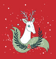 christmas deer new year holiday greeting card vector image vector image