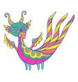 colorful fantasy cartoon dragon with wings horns vector image