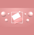 coral color laptop mockup with perspective vector image vector image