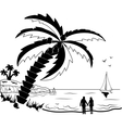 Couple at tropical beach with palm trees vector image vector image