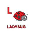 cute cartoon animals alphabet ladybug vector image
