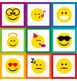 flat icon face set of angel grin pleasant and vector image vector image