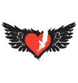 flying heart with wings and feather banner vector image vector image