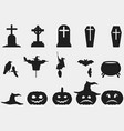 halloween set of symbols witch hat pumpkin vector image vector image