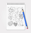 hand drawn hearts set with realistic pencil vector image vector image