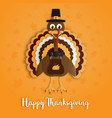 happy thanksgiving day with turkey paper art on vector image vector image