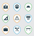 industry icons set with axe heating straightedge vector image vector image