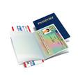 international passport with liechtenstein visa vector image vector image