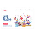love reading flat landing page template vector image vector image
