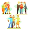 Man Friendship Three Colorful vector image
