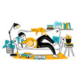 man reading book on couch relaxed adult reads on vector image vector image