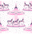 pink merry-go-round seamless pattern vector image vector image
