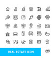 real estate sign thin line icon set vector image