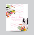 save the date card with exotic flowers and birds vector image