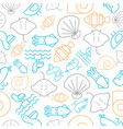 seamless pattern outline under the sea summer vector image