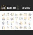 set flat line icons cognac vector image vector image