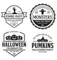 set happy halloween vintage badges vector image vector image