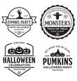 set happy halloween vintage badges vector image vector image