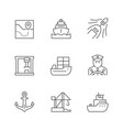 set line icons marine port vector image