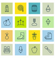 set of 16 planting icons includes lantern fire vector image vector image