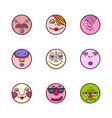 set of colorful face avatar expression icons vector image vector image