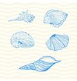 Set of seashells on wave background vector image vector image