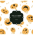 Smiling Halloween pumpkins frame seamless pattern vector image