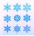 snowflake icons set christmas holiday symbol vector image