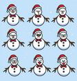 snowman cartoon set character design vector image