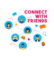 social media network friend group concept design vector image vector image