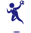 Sport icon for handball in blue vector image vector image