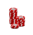 stack red gambling chips on white vector image
