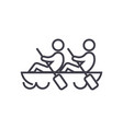teamteamworkcanoe line icon sign vector image