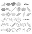 types of bread monochrom icons in set collection vector image vector image