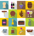 wine icons set flat style vector image vector image