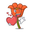 with heart poppy flower mascot cartoon vector image