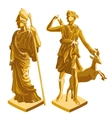 wo Greek Golden statues of warrior and shepherd vector image vector image