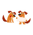two dog characters sitting holding blank board vector image