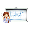 A lady talking in front of the whiteboard vector image vector image